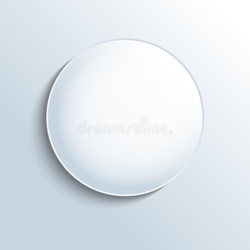 Bia?y szklany sfera kszta?ta guzik ilustracji