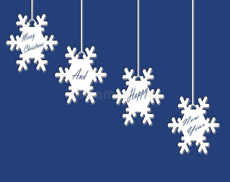 Biali Śnieżni płatki na Błękitnej stronie ilustracja wektor