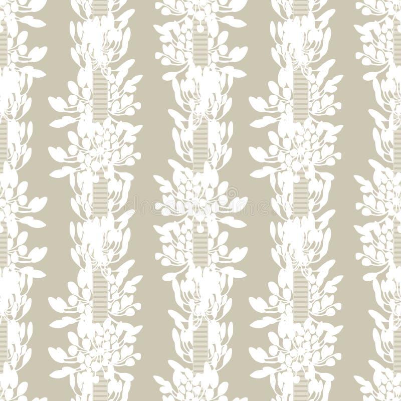 Biali afrykańskiej lelui kwiatu lampasy z tasiemkowego lata wektoru kwiecistym bezszwowym wzorem na beżowym tle dla tkaniny royalty ilustracja