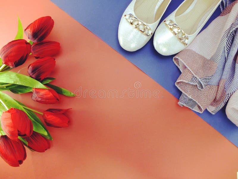 Biali baletniczy płascy dama buty na żółtym i błękitnym tle obrazy stock