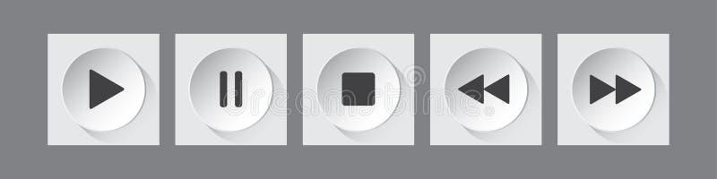 Biali, czarni round muzyki kontroli guziki ustawiający, ilustracja wektor