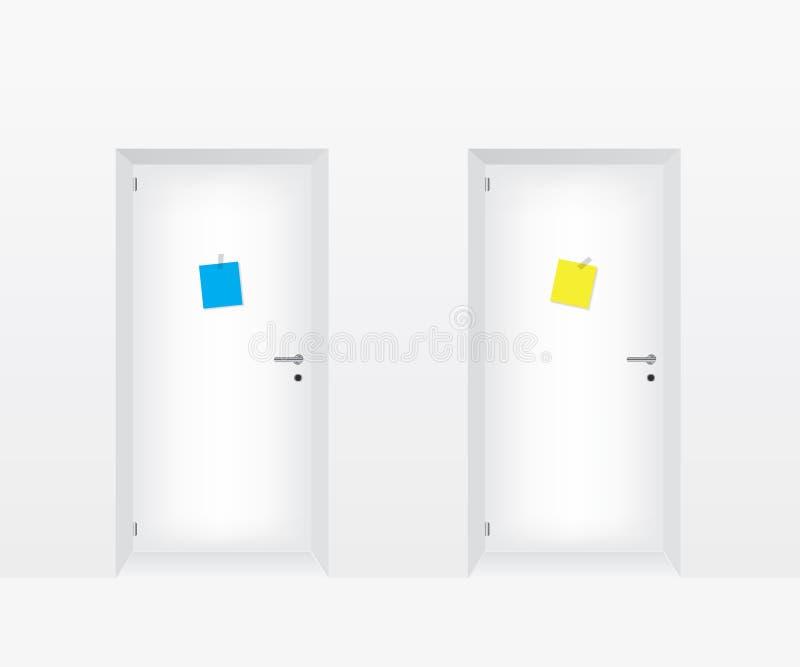 Biali drzwi ilustracyjni royalty ilustracja