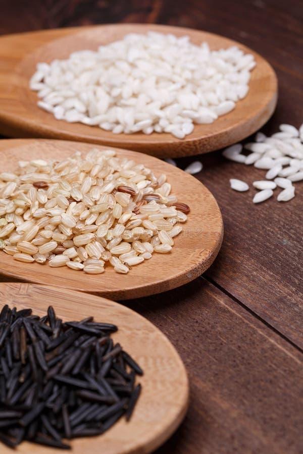 Biali, dzicy i brown ryż, zdjęcia stock