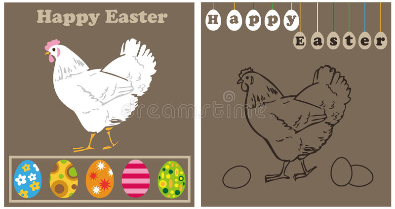 Biali Easter jajka i kurczak ilustracja wektor