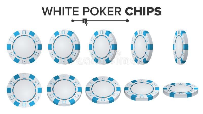 Biali grzebaków układy scaleni Wektorowi 3d set Plastikowy Round grzebaków układów scalonych znak Na bielu Trzepnięcie Różni kąty royalty ilustracja