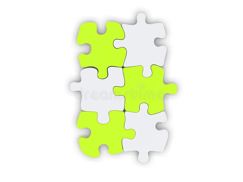 Biali i świezi zieleni łamigłówka kawałki ustawiający wpólnie ilustracji