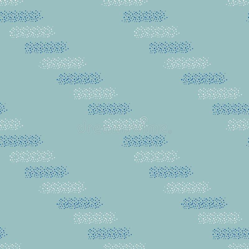 Biali i błękitni horyzontalni paski kropki w klasycznym wektorowym bezszwowym wzorze z nowożytnym skrętem na bławym tle royalty ilustracja