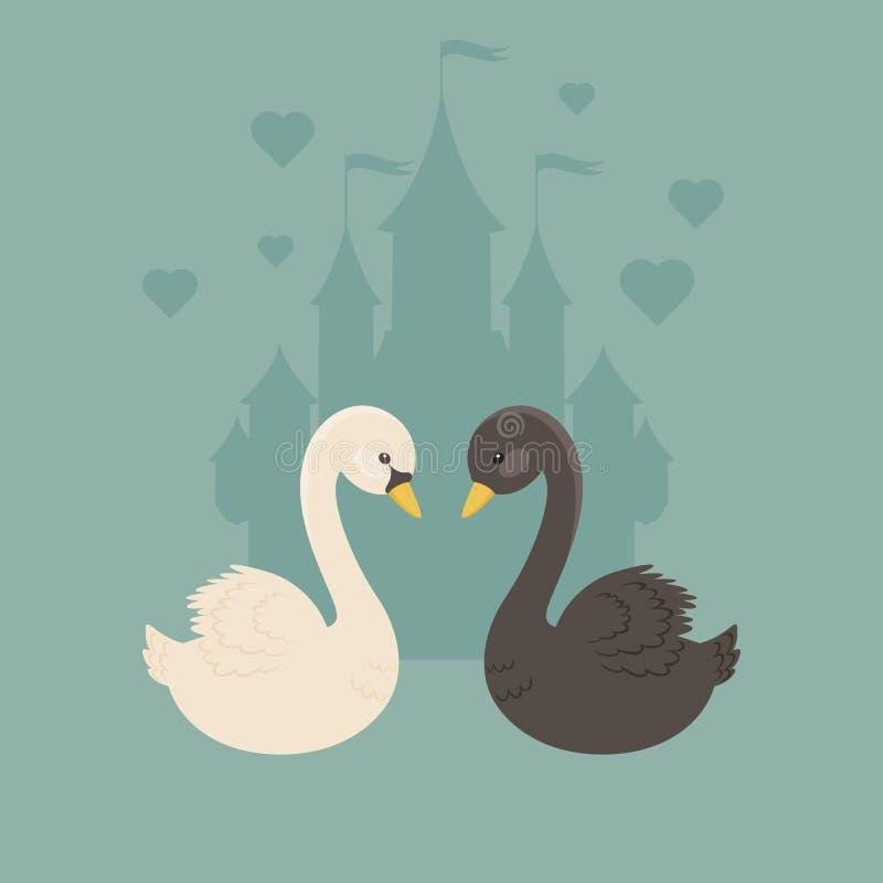 Biali i czarni łabędź w miłości ilustracji