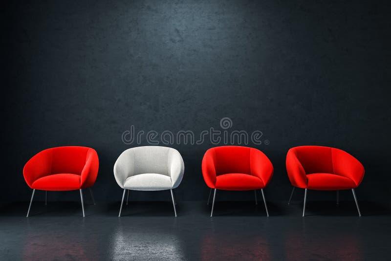 Biali i czerwoni karła w pustym czarnym pokoju ilustracja wektor
