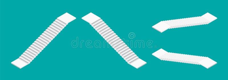 Biali isometric schodki ustawiający Odosobniona wektorowa ilustracja ilustracji