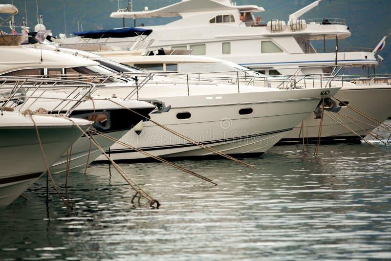 Biali jachty, luksusowe łodzie cumujący przy dennym schronieniem i zdjęcie stock