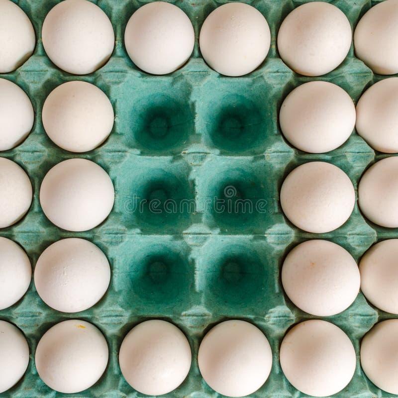 Biali jajka układali wpólnie w zielonym jajecznym kartonie z pustymi przestrzeniami w środku zdjęcia royalty free