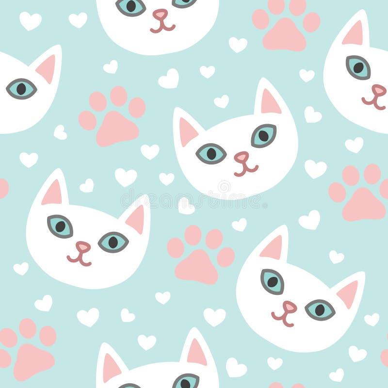 Biali koty przewodzą bławego ślicznego bezszwowego wzór z sercami i łapami ilustracja wektor
