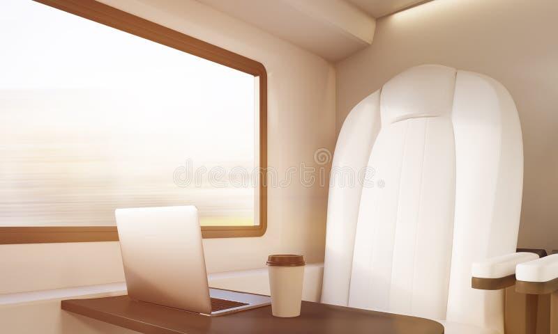 Biali krzesło, laptop i kawa w pogodnym przedziale, royalty ilustracja