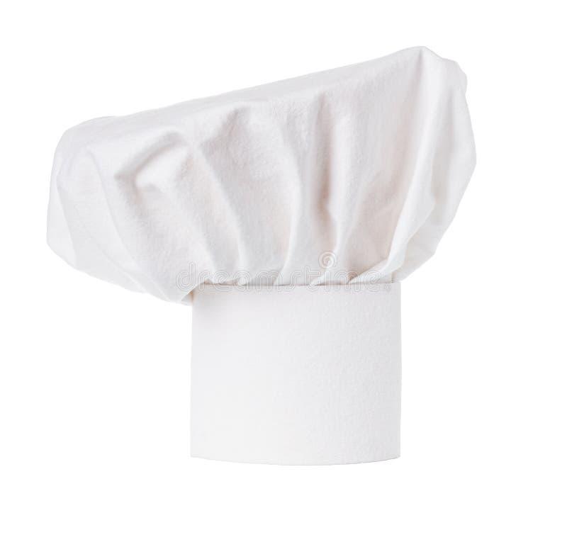Biali kucharzi nakrętka, szefa kuchni kapelusz odizolowywający zdjęcia royalty free