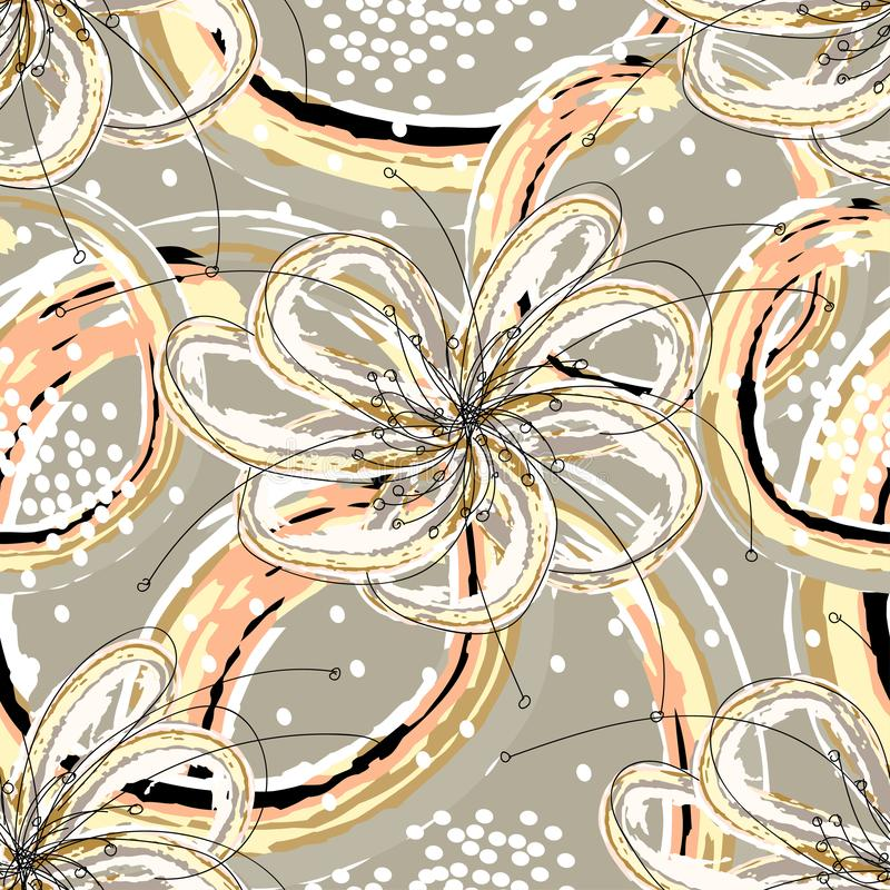 Biali kwiaty z abstrakcjonistycznymi postaciami na świetle i biel kropki - szarość barwią royalty ilustracja