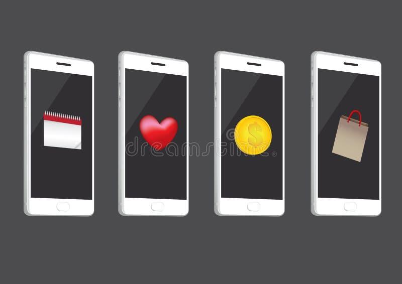 Biali Mądrze telefony z ikona wektoru ilustracją royalty ilustracja