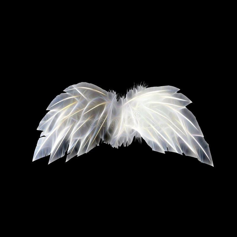 Biali neonowi aniołów skrzydła obraz stock