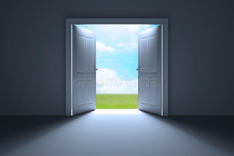 Biali otwarte drzwi ogród ilustracji