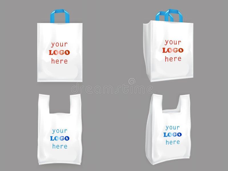 Biali plastikowi torba na zakupy ilustracja wektor