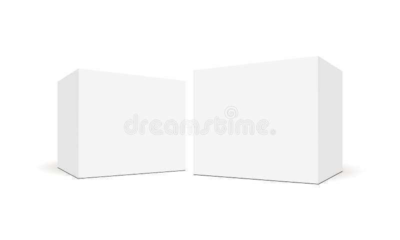 Biali puści kwadratowi pudełka z bocznym perspektywicznym widokiem ilustracji