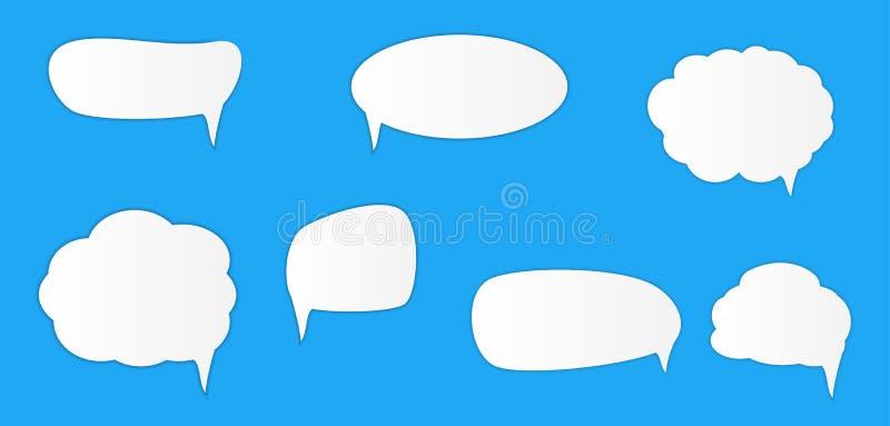 Biali puści retro mowa bąble ustawiają na błękitnym tle r?wnie? zwr?ci? corel ilustracji wektora ilustracji
