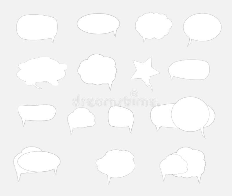 Biali puści retro mowa bąble ustawiają na białym tle r?wnie? zwr?ci? corel ilustracji wektora royalty ilustracja