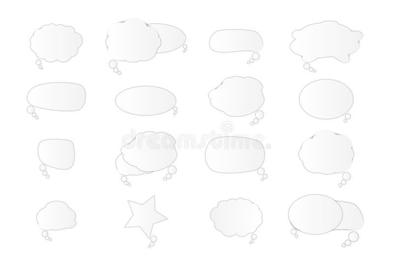 Biali puści retro mowa bąble ustawiają na białym tle r?wnie? zwr?ci? corel ilustracji wektora ilustracji
