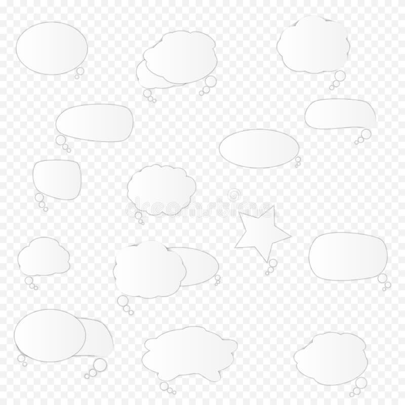 Biali puści retro mowa bąble ustawiają na przejrzystym tle r?wnie? zwr?ci? corel ilustracji wektora ilustracja wektor
