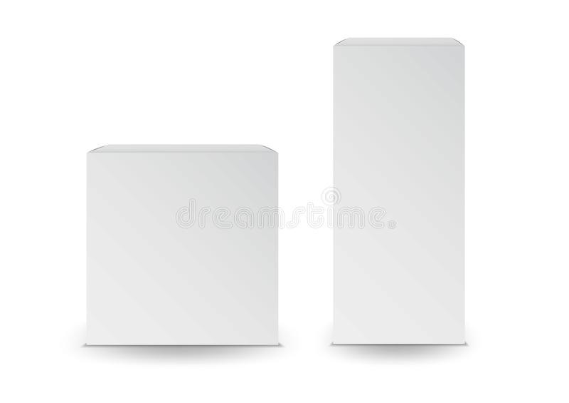 Biali pudełka, pakunek, 3d pudełko, produktu projekt, Wektorowa ilustracja ilustracji
