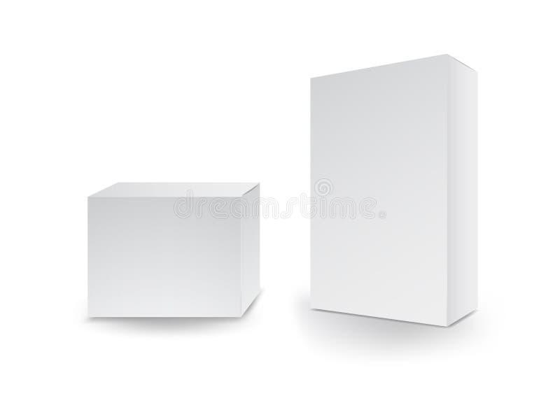 Biali pudełka, pakunek, 3d pudełko, produktu projekt, Wektorowa ilustracja royalty ilustracja