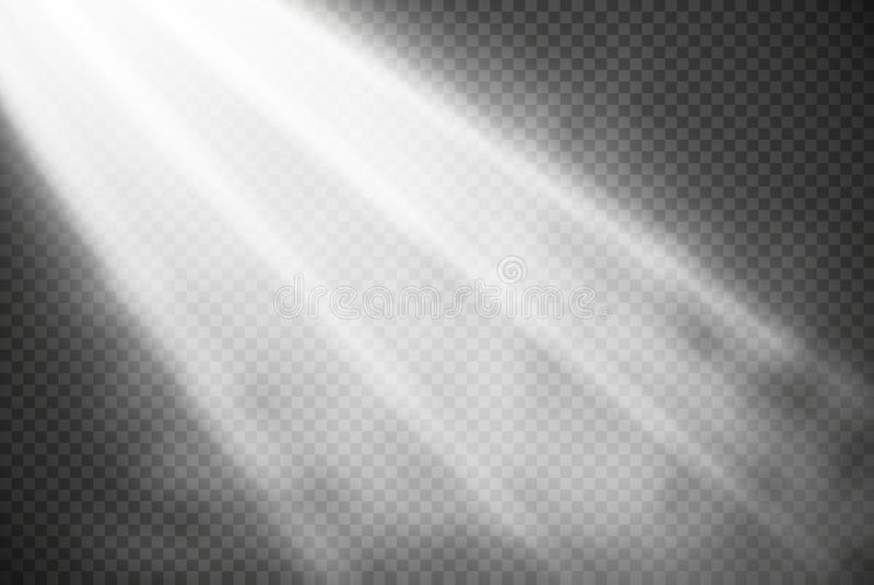 Biali rozjarzeni światło skutki odizolowywający na przejrzystym tle Słońce błysk z promieniami i światłem reflektorów Jarzeniowy  ilustracja wektor