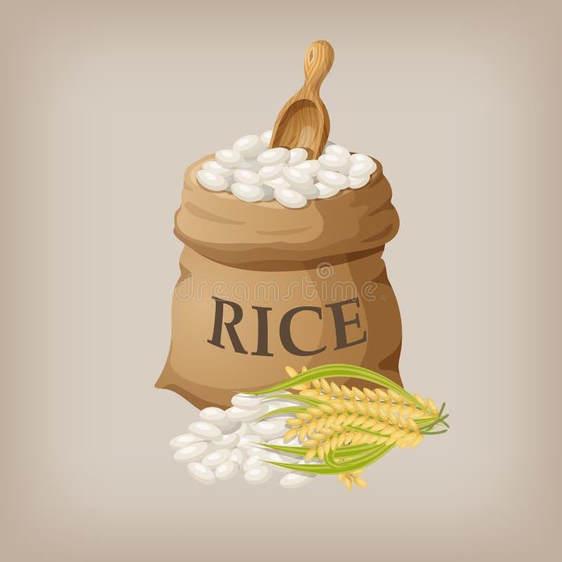 Biali ryż w małym burlap worku również zwrócić corel ilustracji wektora ilustracji
