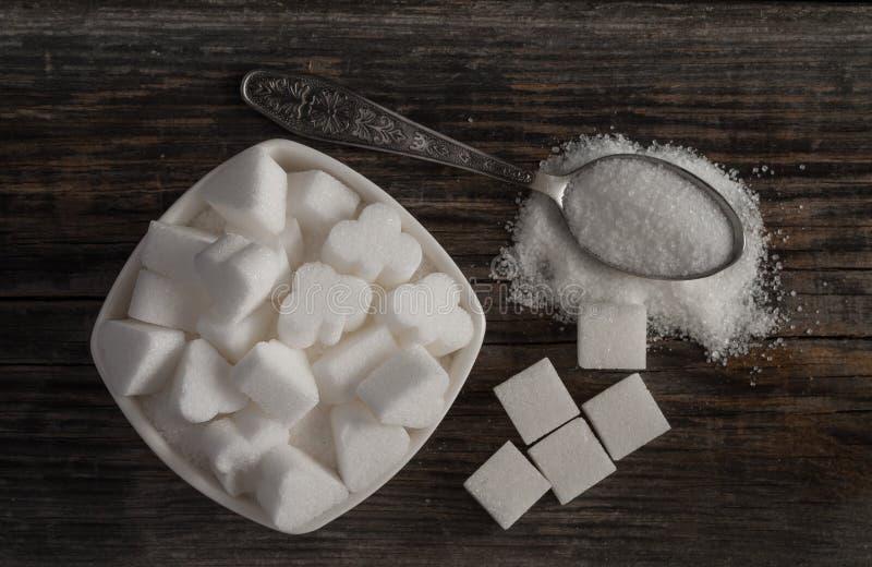 Biali słodcy cukrowi sześciany obraz stock