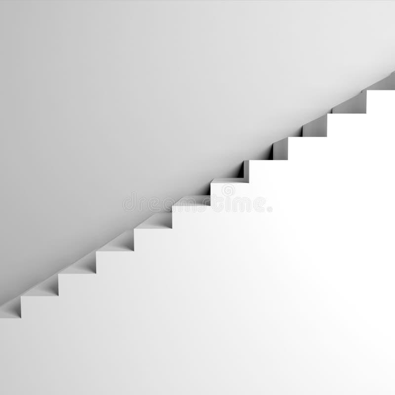 Biali schodki na ścianie, abstrakcjonistyczna architektura ilustracji