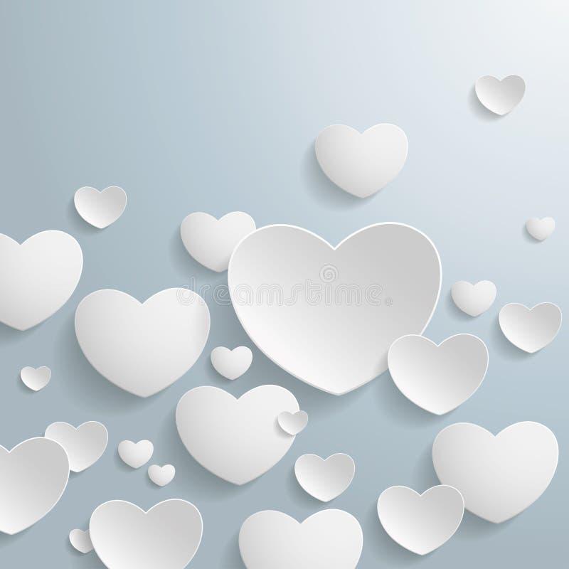 Biali serca ilustracja wektor