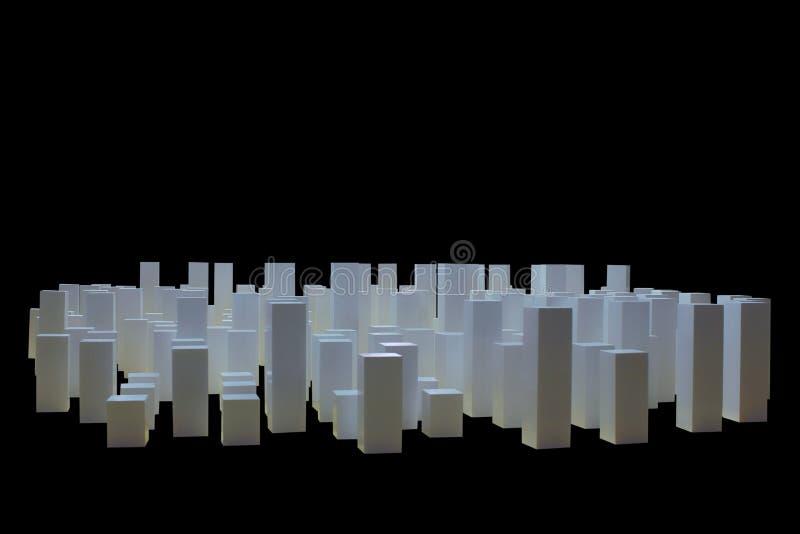 Biali sześciany budują jako budynki biznesowy miasto, odosobniony czarny tło, pojęcie biznesowy miasto obrazy stock