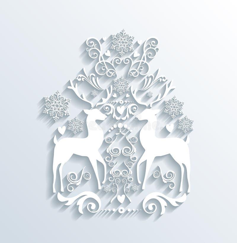 Biali Wesoło boże narodzenia i Szczęśliwy nowego roku kartka z pozdrowieniami ilustracji