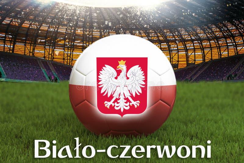 Bialo-czerwoni på det Polen språket på fotbollslagboll på stor stadionbakgrund framförande 3d Begrepp för Polen lagkonkurrens vektor illustrationer