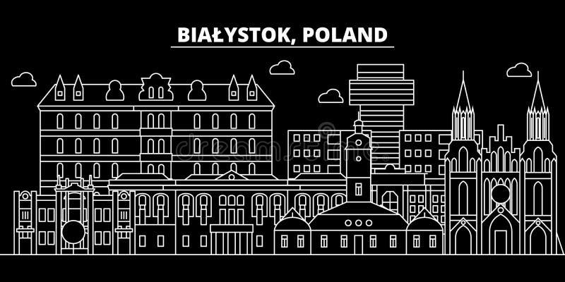 Bialystok konturhorisont Polen - Bialystok vektorstad, polsk linjär arkitektur, byggnader Bialystok linje royaltyfri illustrationer