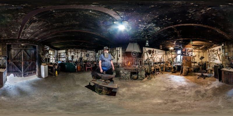 BIALYSTOK, POLÔNIA - EM JULHO DE 2019: Panorama sem emenda esférico completo do hdri 360 graus de opinião de ângulo no interior d fotografia de stock