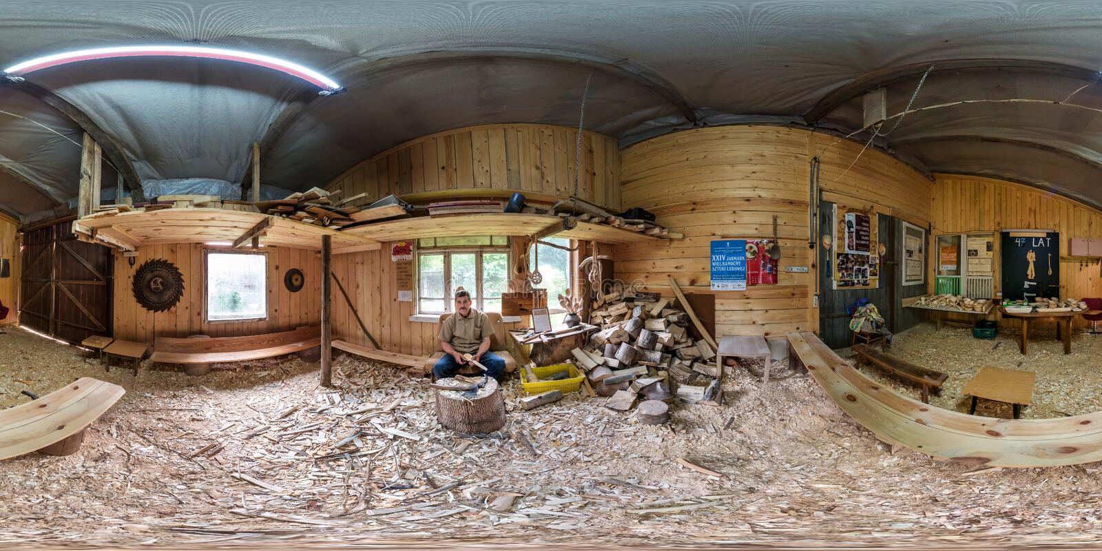 BIALYSTOK, POLAND - JULY 2019: Full spherical seamless hdri panorama 360 degrees angle view in interior of wooden spoon workshop royalty free stock image