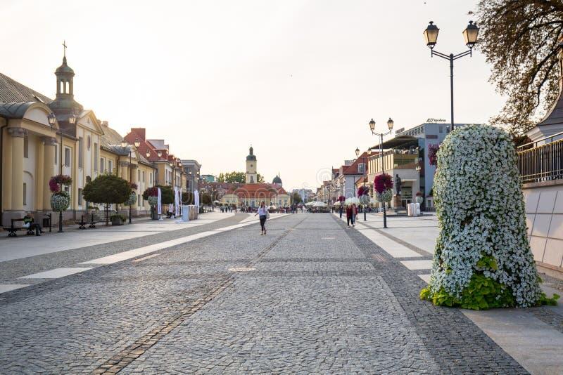 Bialystok, Poland - September 17, 2018: Architecture of the Kosciusko Main Square with Town Hall in Bialystok, Poland. Bialystok stock image