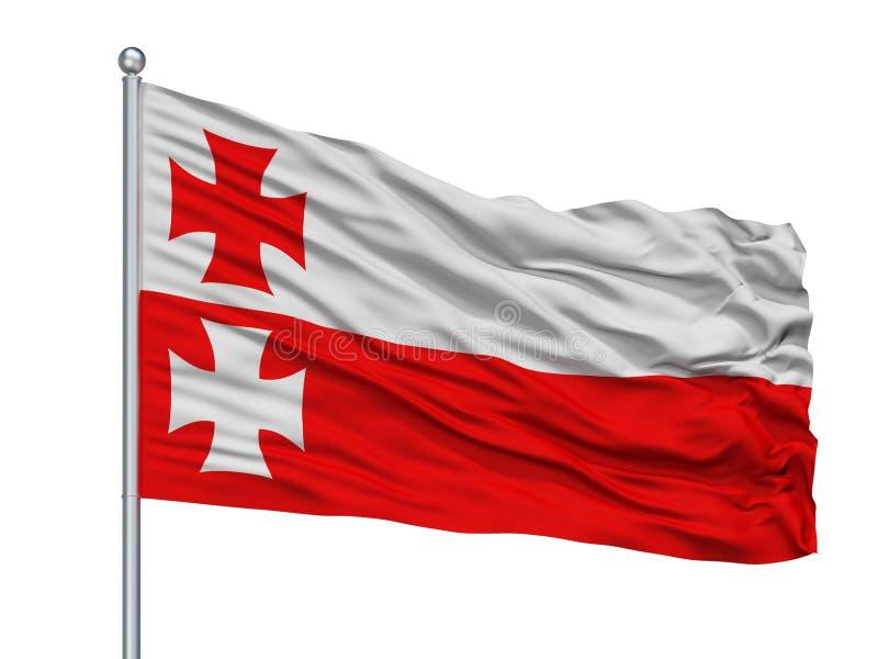 Bialystok stadsflagga på flaggstången, Polen som isoleras på vit bakgrund stock illustrationer