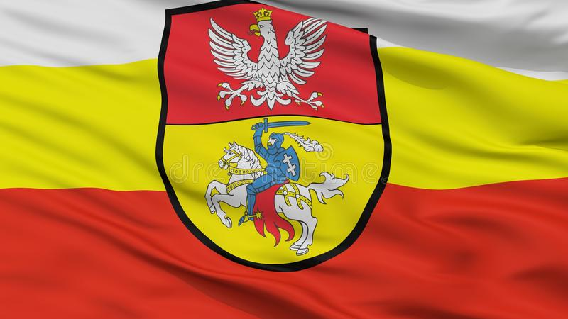 Bialystok stadsflagga, Polen, Closeupsikt stock illustrationer