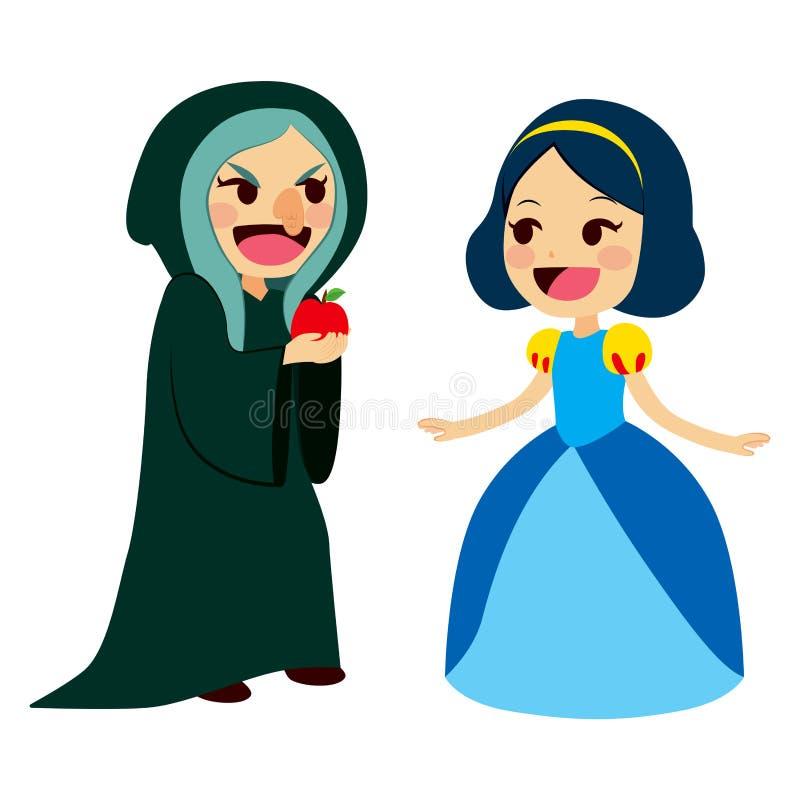 Biancaneve e strega illustrazione di stock
