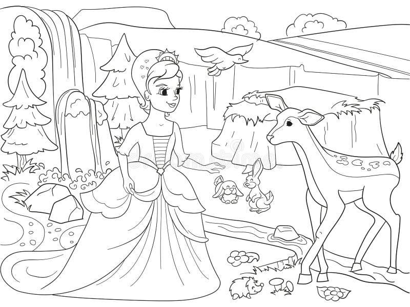 Biancaneve nel legno con gli animali Racconto, fumetto, linee nere del libro da colorare su un fondo in bianco illustrazione vettoriale