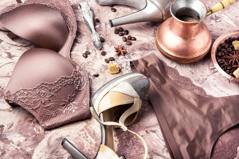 Biancheria e caffè immagine stock