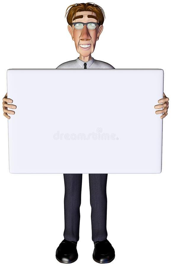 bianco 2 dell'annuncio dell'uomo d'affari 3d illustrazione vettoriale
