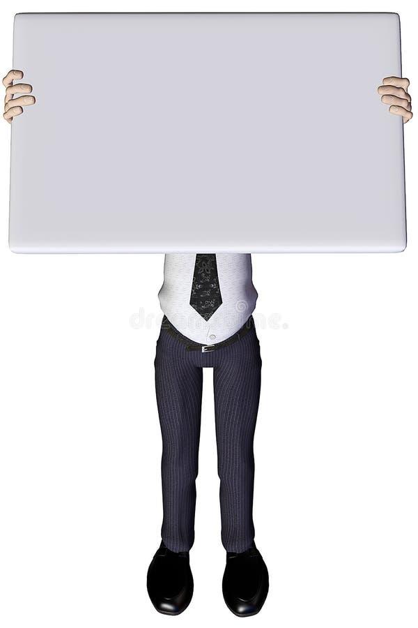 bianco 3 dell'annuncio dell'uomo d'affari 3d illustrazione di stock